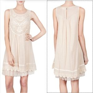 A'Reve romantic boho dress w/ lace crochet ribbon